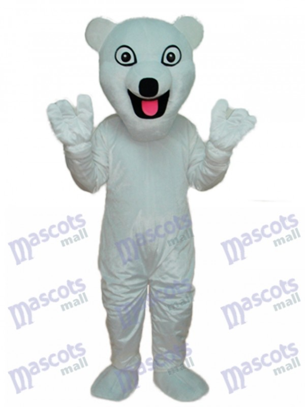 White Polar Bear Mascot Adult Costume