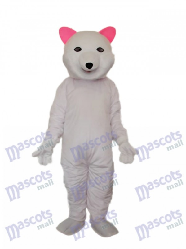 Pink Ears Polar Bear Mascot Adult Costume