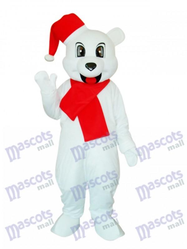 White Christmas Bear Mascot Adult Costume