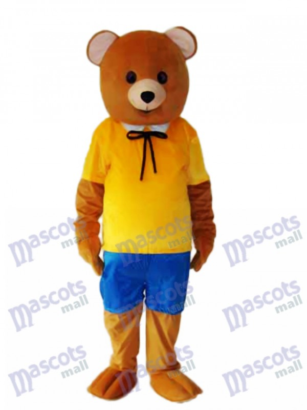Yellow Shirt Teddy Bear Mascot Adult Costume
