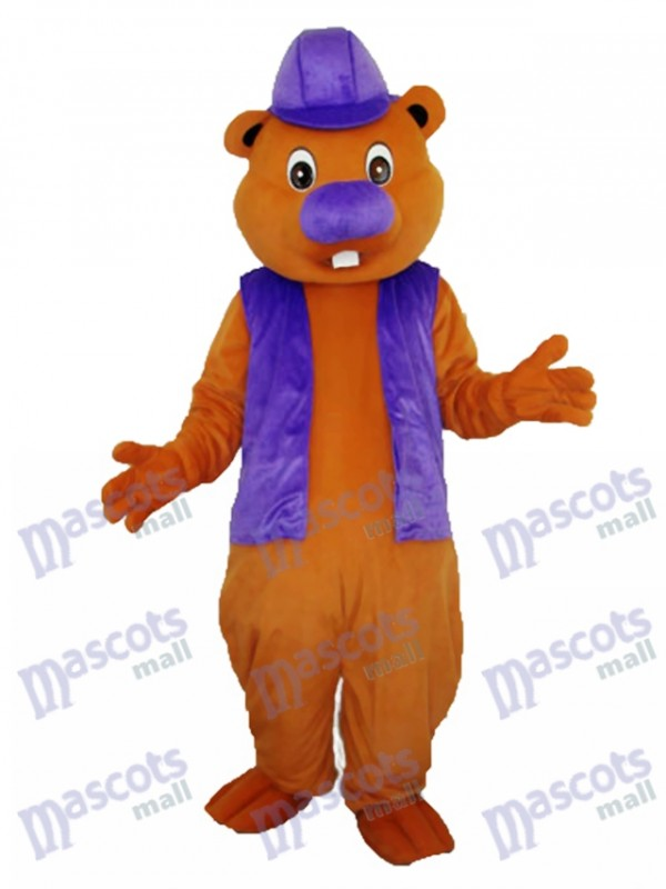 Purple Beaver Mascot Adult Costume