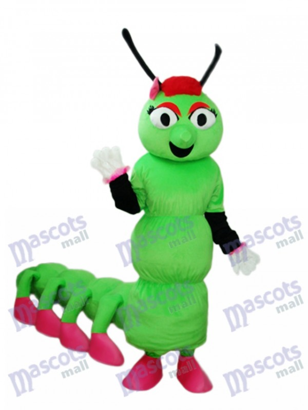 Greeen Worm with Long Tail Mascot Adult Costume