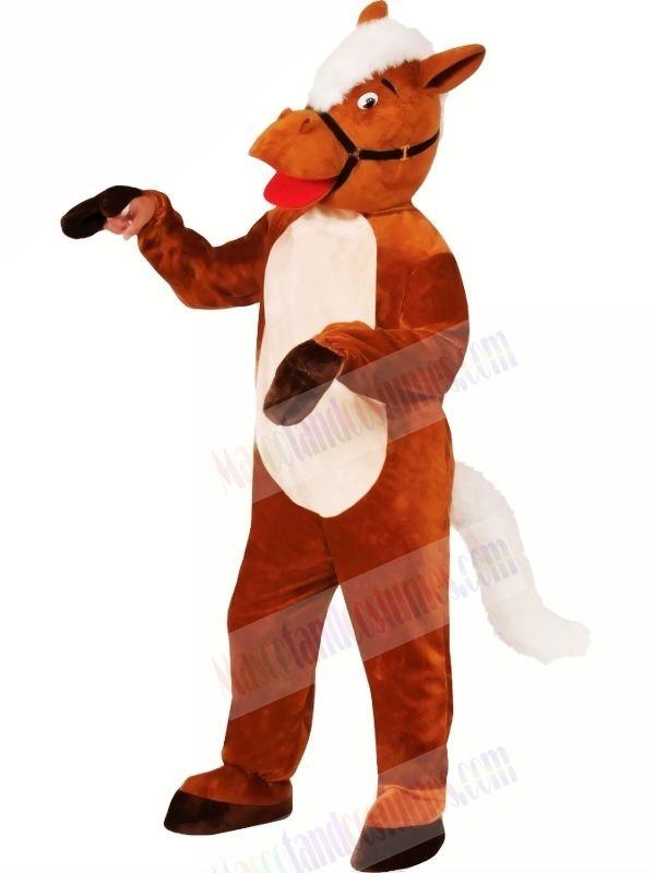 Smiling Brown Horse Mascot Costumes Cartoon