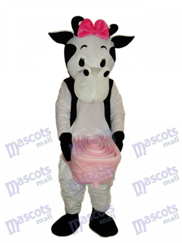 Pink Bow Cow Mascot Adult Costume