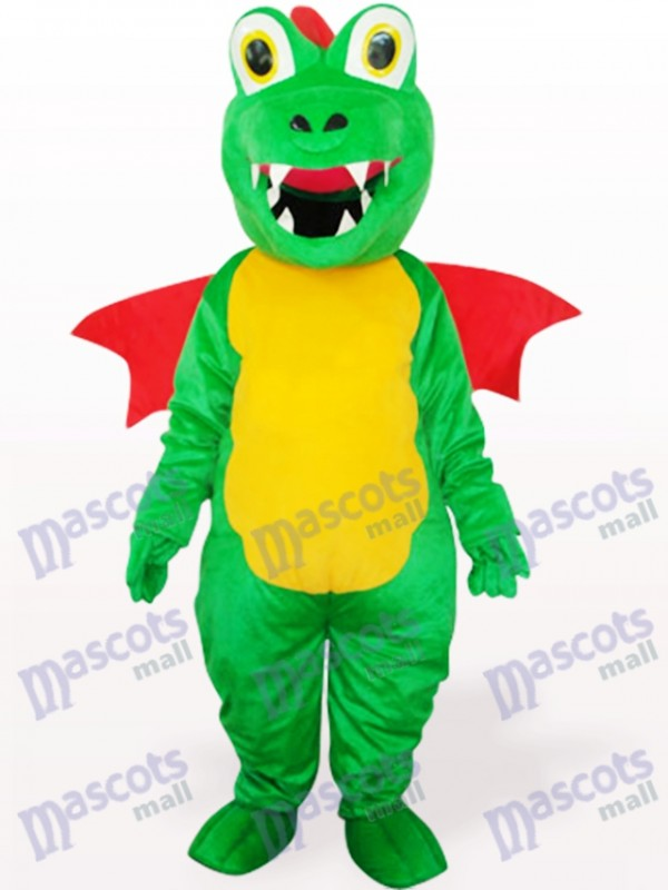 Green Dinosaur With Red Wing Adult Mascot Costume