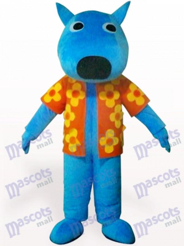 Blue Male Dog Animal Adult Mascot Costume