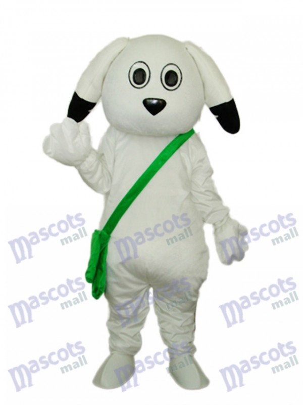 Green Bag White Dog Mascot Adult Costume