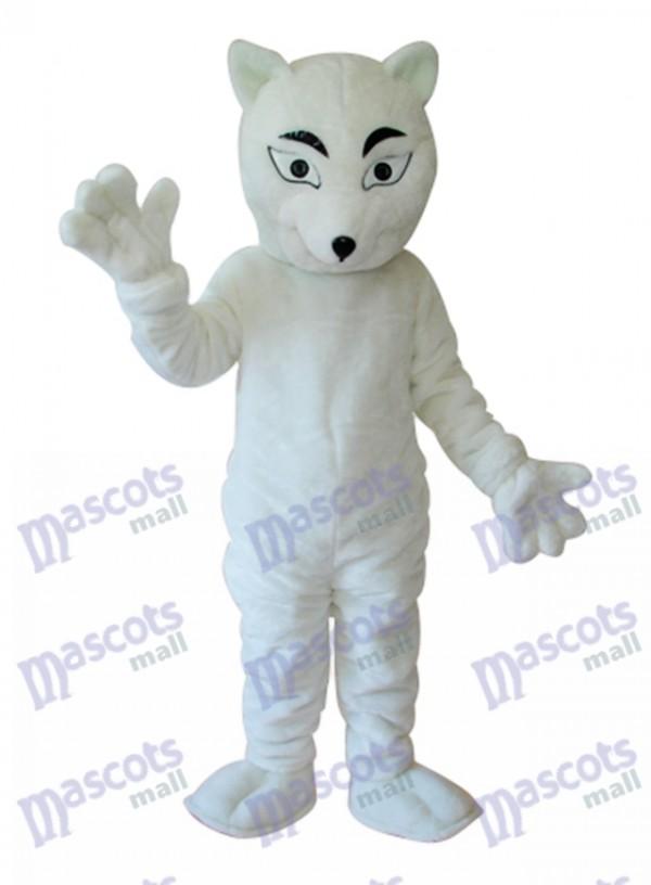 White Fox Mascot Adult Costume
