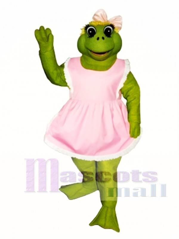 Fern Frog with Apron & Bow Mascot Costume