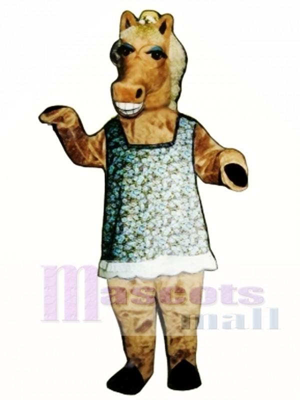 Martha Mare Horse with Dress, Hat & Glasses Mascot Costume