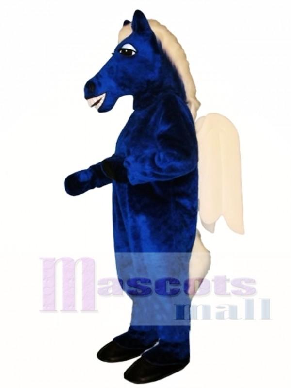 Cute Blue Pegasus Horse Mascot Costume