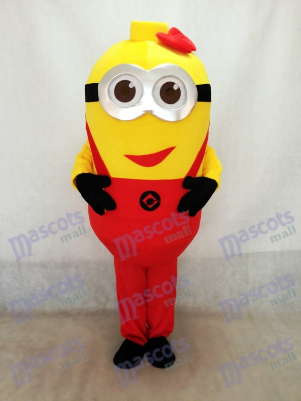Despicable Me Minions Mascot Costume With Red Suspenders & Bowknot
