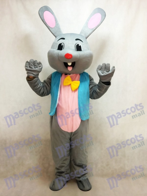Easter Grey Bunny Gray Rabbit Hare Mascot Costume in Blue Vest