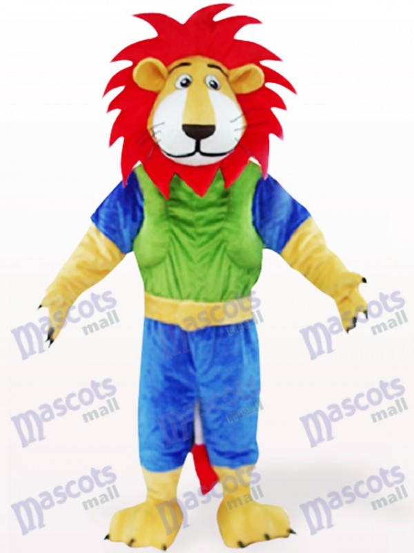 Green And Blue Leo Lion With Red Hair Mascot Costumes Animal