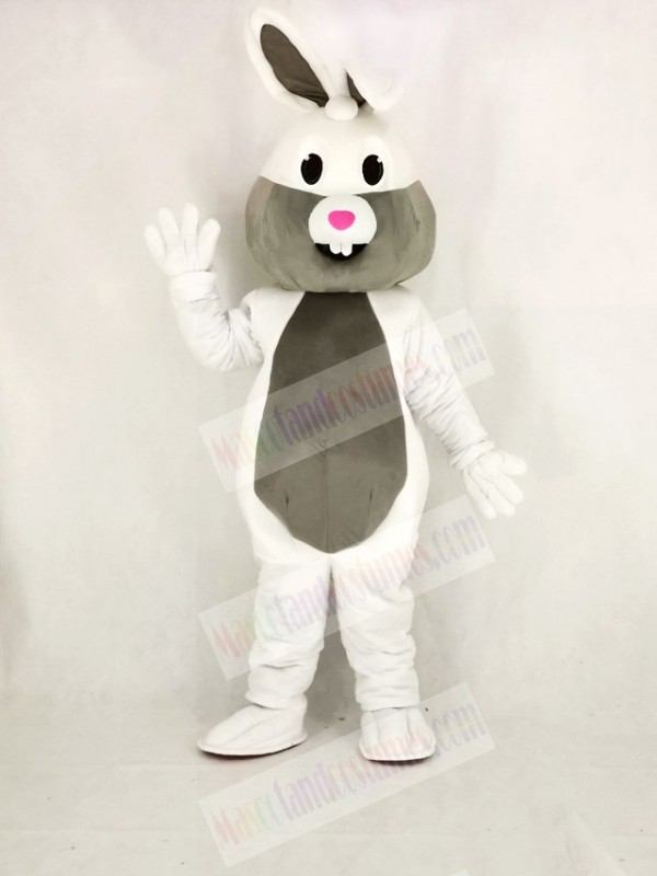 White and Grey Easter Bunny Rabbit Mascot Costume Cartoon