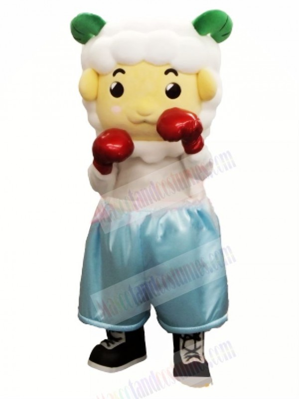 Cute Boxer Sheep Mascot Costume Cartoon