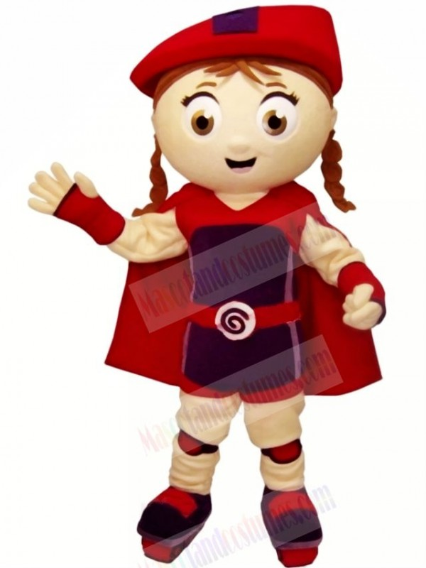 Cute Girl with Red Hat Mascot Costume Cartoon