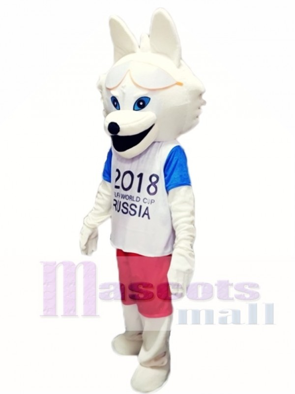 2018 Russia FIFA World Cup Football Zabivaka White Wolf Mascot Costumes Animal