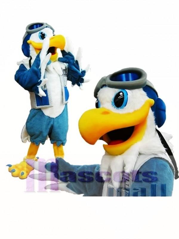 Blue and White Eagle Ace Mascot Costume Pilot Bird Hawk Mascot Costume Animal
