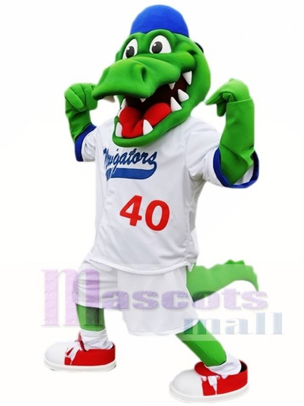 Blue Hat Athlete Crocodile Mascot Costume Alligator Mascot Costumes