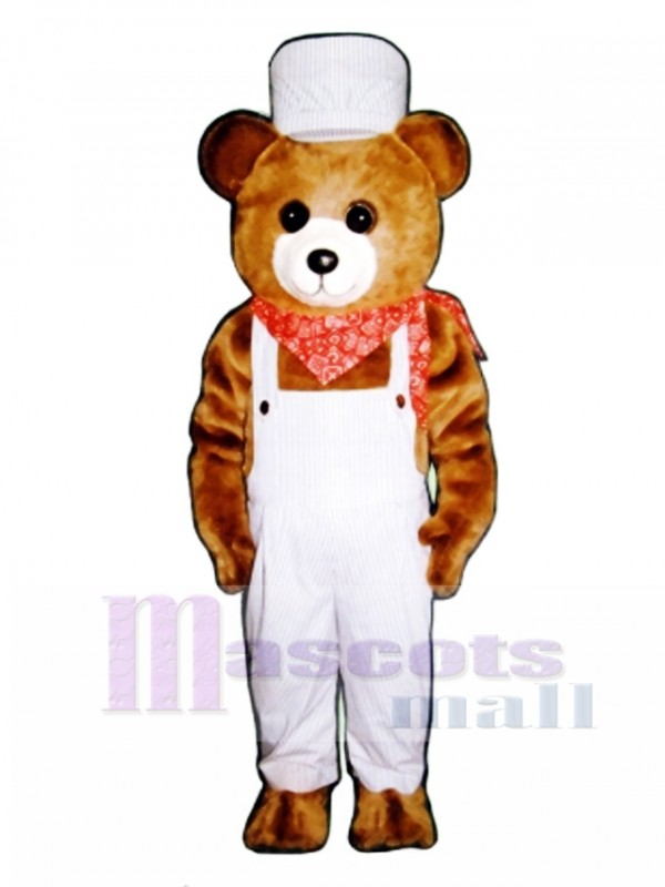 Choo-Choo Bear with Overalls & Hat Christmas Mascot Costume