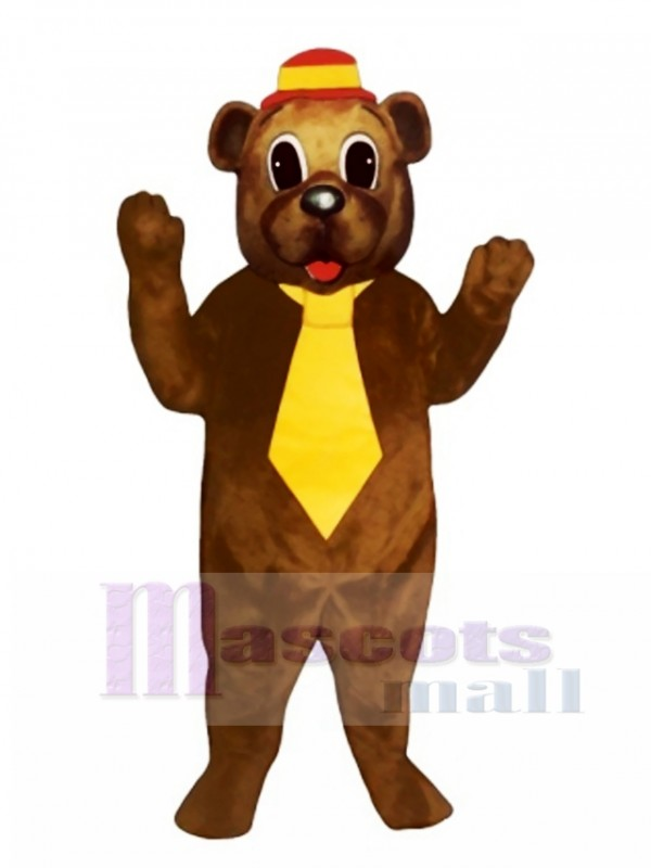 Father Bear with Hat & Tie Mascot Costume