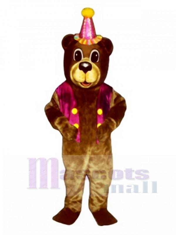 New Birthday Bear with Vest & Hat Mascot Costume