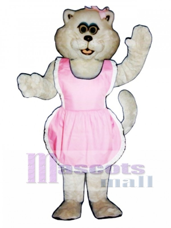 Cute Pussy Cat with Apron & Bow Mascot Costume