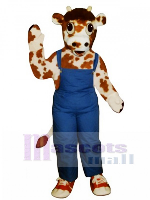 Calf with Overalls & Tennis Shoes Mascot Costume
