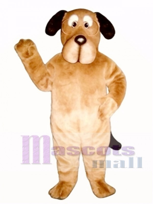 Cute Educated Dog with Glasses Mascot Costume