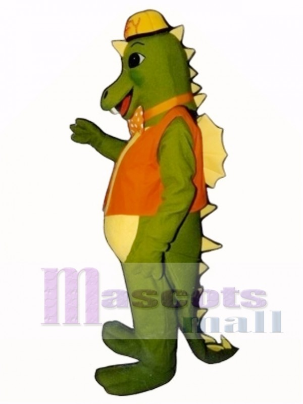 Smokey Dragon with Vest, Hat & Tie Mascot Costume