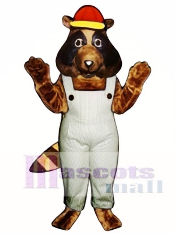 Stevie Raccoon with Bib Overalls & Hat Mascot Costume