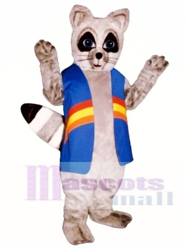 Rainbow Raccoon with Vest Mascot Costume