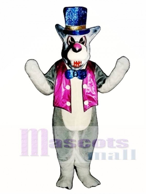 Cute Wolf A-Mania with Vest Mascot Costume