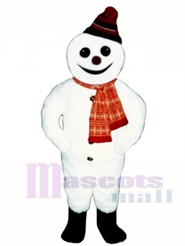 Smiling Snowman with Hat & Scarf Mascot Costume