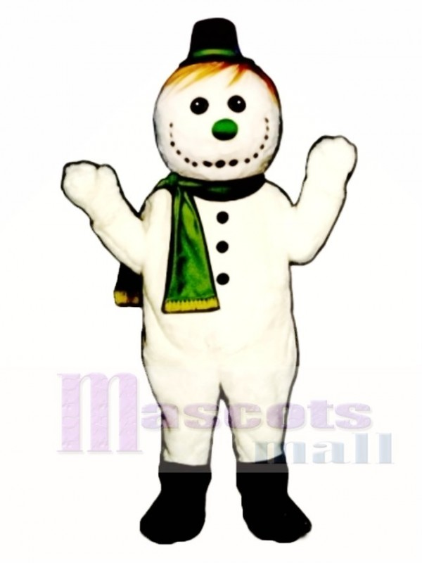 Flakey Snowman with Hat & Scarf Christmas Mascot Costume