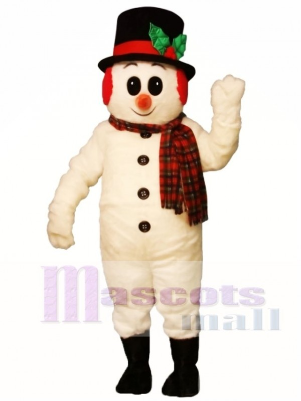 Cute Crystal Snowboy with Hat, Muffs & Scarf Mascot Costume