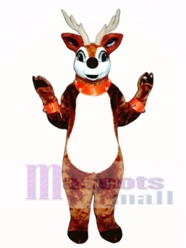 Cute Reindeer with Lite-up Nose Collar & Cuffs Mascot Costume