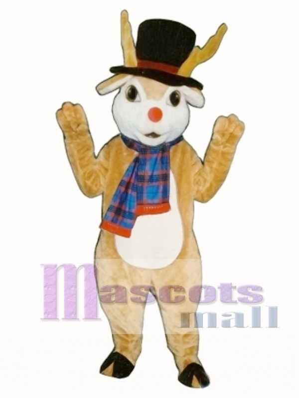 Cute Danny Deer with Hat & Scarf Mascot Costume