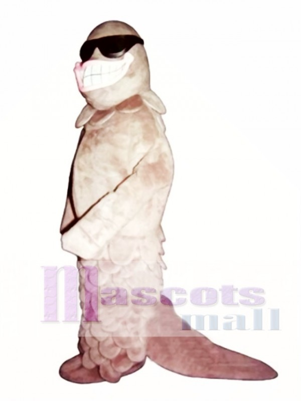 Cute Smiling Salmon with Sunglasses Mascot Costume