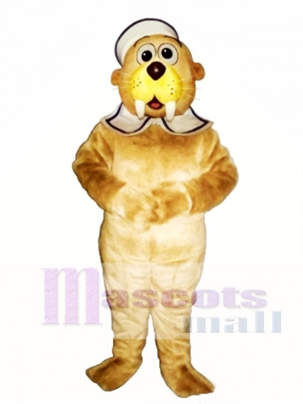 Cute Baby Walrus with Hat & Collar Mascot Costume
