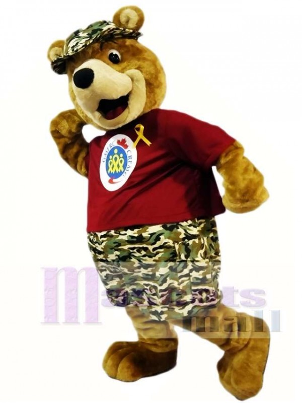 Camouflage Pants Bear Mascot Costumes