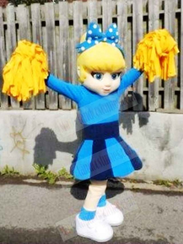 Blue Dress Cutie Cheer Leader Mascot Costumes People