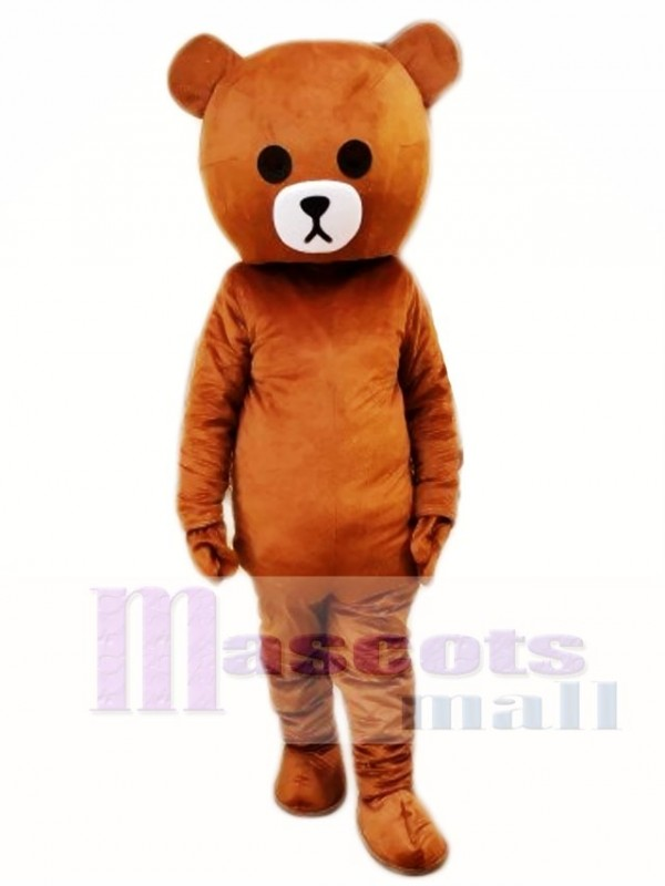 Brown Bear Mascot Costume Line Town Friends Mascot