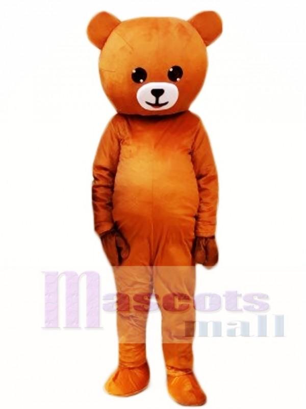 Laugh Smile Light Brown Bear Mascot Costumes Line Town Friends