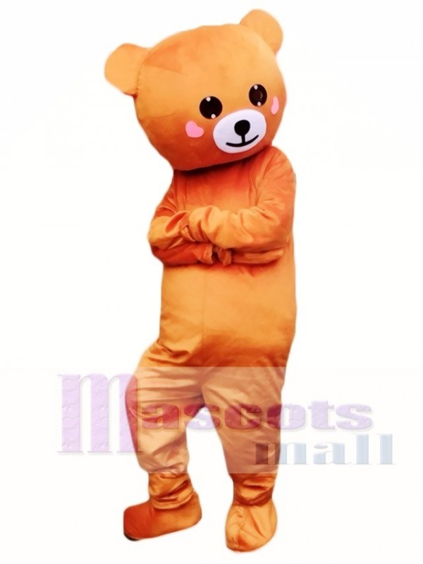 Laugh Smile Light Brown Bear Mascot Costumes with Pink Cheek Line Town Friends