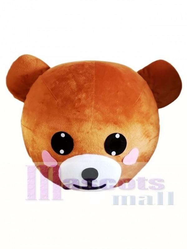 Light Brown Bear Mascot HEAD ONLY Line Town Friends with Pink Cheek