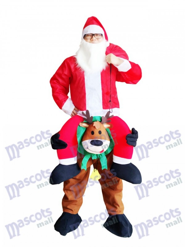 Reindeer Carry Me Mascot Costume Reindeer Carry Santa Claus Christmas Fancy Dress
