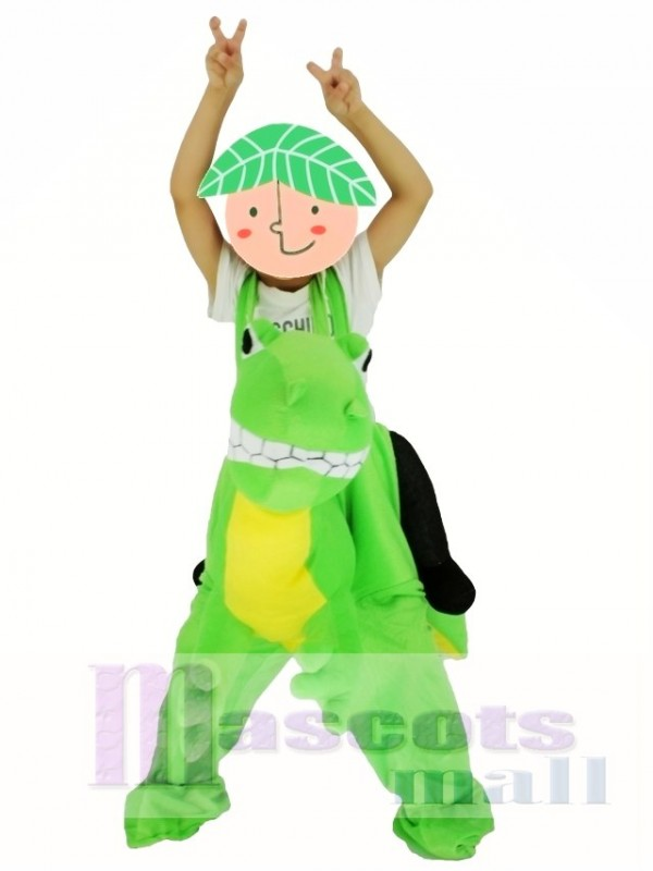 For Children/ Kids Piggyback Carry Me Ride on Yellow Belly Green Dragon Mascot Costume