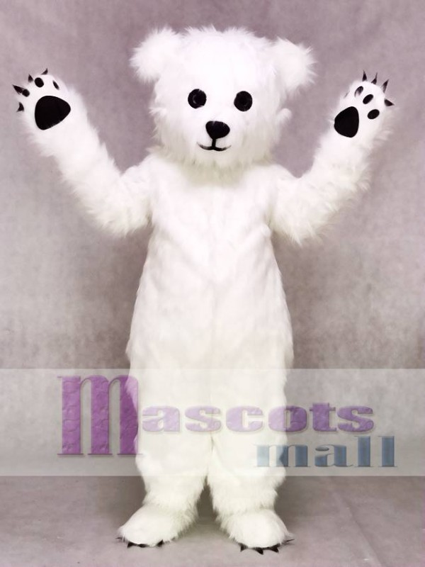 White Fluffy Polar Bear Mascot Costume Animal